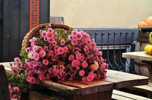 Close-up photography. Rural bouquet on a wooden table. photo