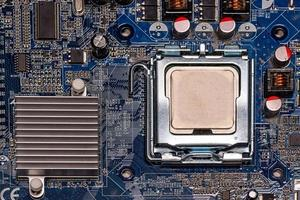 Close-up CPU on computer mother board photo