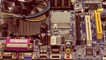 Vintage style close-up computer mother board photo