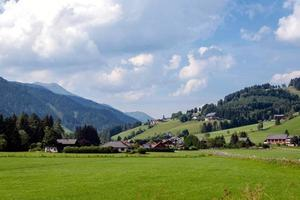 Typical Austrian village in the foothills of the Alps. photo