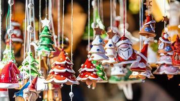 Christmas Ceramics Decorations on Christmas Market at Riga, Latvia photo