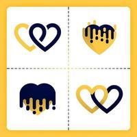 Logotipo de amor con tema de logotipo de dos líneas que se comunica y se derrite se puede usar para negocios romance organizador de bodas agencia de emparejamiento invitación cosas de chicas de San Valentín vector