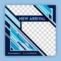 social media background with geometric elements in black and blue social media post templates For personal and business accounts automotive minimal square Black and blue background banner template vector