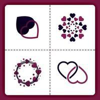 El logotipo de amor con tema circular floral y líneas apiladas se puede usar para negocios románticos organizador de bodas agencia de emparejamiento invitación cosas de chicas de San Valentín vector