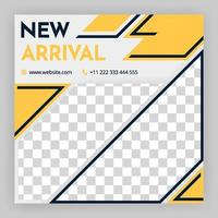 social media post and internet ads social media post templates White background with geometric elements in black and yellow Editable minimal square banner template For personal and business account vector