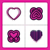 El logotipo de amor con código de barras de tema 3d y líneas apiladas se puede utilizar para un romance de negocios. Organizador de bodas. vector