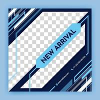 blue social media post and internet ads templates Minimalist geometric concept Alternate design is available for automotive and technology minimal square background social media banner template vector