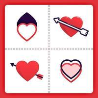 El logotipo de amor con líneas conectadas superpuestas y flechas perforantes se puede usar para romance de negocios Organizador de bodas Agencia de emparejamiento Invitación Cosas de chicas de San Valentín vector