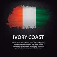 Ivory Coast flag brush vector