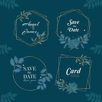 Blue Navy Hand Drawn Wreath Background Collection vector