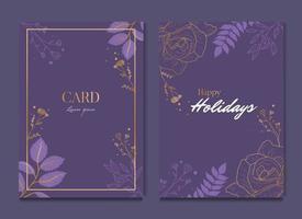 Simple Dark Purple Floral Celebration Wedding Card Invitation vector