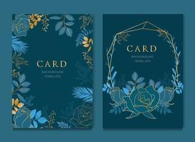 Navy Blue Card With Golden Leaves Wedding Template vector
