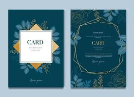 Navy Blue Card With Golden Leaves Card and Wedding Invitation Template vector