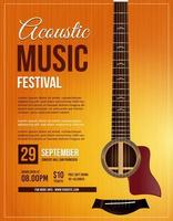 Live Performance Guitar Acoustic Poster vector