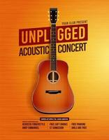 Unpluged Acoustic Guitar Concert Poster vector