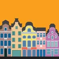 Colorful classic row houses collection front elevation view. vector