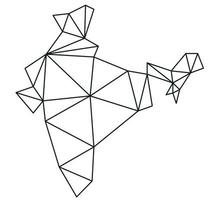 Polygonal India vector world map on white background.