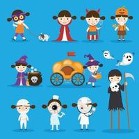 Halloween kids costume party isolate on white background. vector