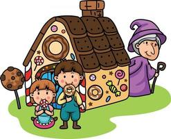 Fairy tales,Hansel and Gretel.isolate on white background. vector