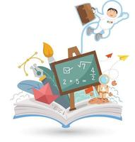 Open book and education isolate on white background. vector