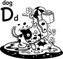 Hand drawn.Alphabet Letter D-dog illustration, vector