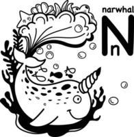 Hand drawn.Alphabet Letter N-narwhal illustration, vector