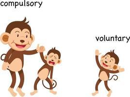 ilustración vectorial obligatoria y voluntaria opuesta vector