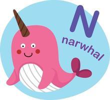 Ilustración aislado alfabeto letra n-narval ilustración vectorial vector
