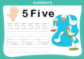 Hand count.finger and number,Number exercise illustration vector
