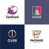 Delivery logo vector, sea food logo vector, paper logo vector, modern logo vector