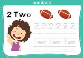 Connecting dot and printable numbers exercise for preschool and kindergarten kids illustration, vector