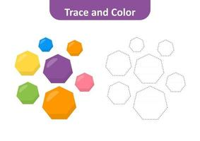 Trace and color for kids, heptagon vector