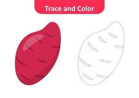 traza y color para niños, vector de camote