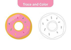 Trace and color for kids, donut vector