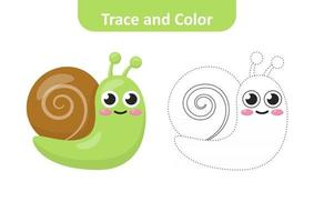 Trace and color for kids, snail vector