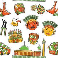 Jakarta City Seamless Pattern vector