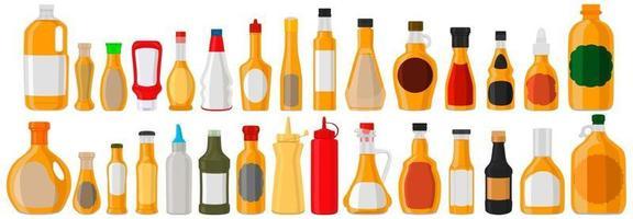 Illustration on theme big kit varied glass bottles filled liquid apple vinegar vector
