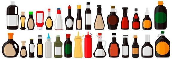 Illustration on theme big kit varied glass bottles filled liquid sauce unagi vector