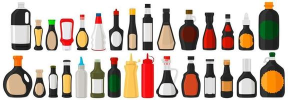 Illustration on theme big kit varied glass bottles filled liquid soy sauce vector