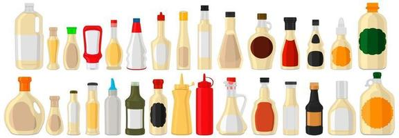 Illustration on theme big kit varied glass bottles filled thick sauce mayonnaise vector