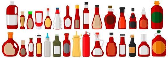 Illustration on theme big kit varied glass bottles filled liquid red wine vinegar vector