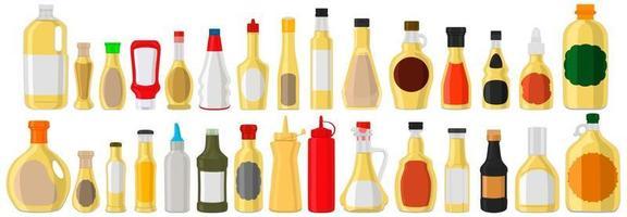 Illustration big kit varied glass bottles filled liquid white wine vinegar vector