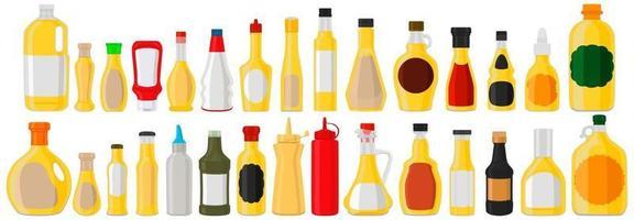 Illustration on theme big kit varied glass bottles filled liquid cheese sauce vector