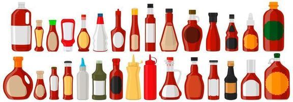 Illustration big kit varied glass bottles filled liquid sauce habanero vector