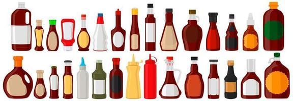 Illustration on theme kit varied glass bottles filled liquid sauce barbecue vector