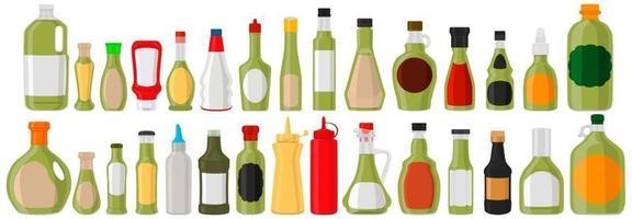 Illustration kit varied glass bottles filled liquid sauce guacamole vector