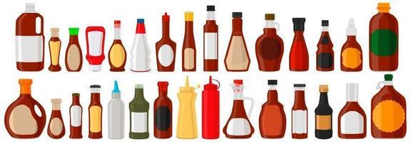 Illustration on theme big kit varied glass bottles filled liquid sauce ketchup vector