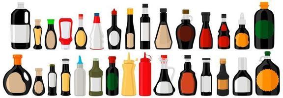 Illustration on theme big kit varied glass bottles filled liquid balsamic vinegar vector