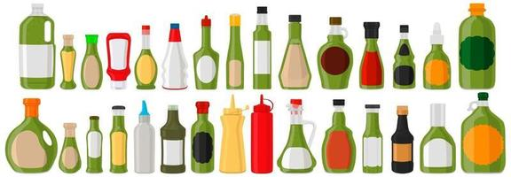 Illustration on theme big kit varied glass bottles filled liquid sauce pesto vector