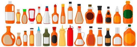 Illustration on theme big kit varied glass bottles filled liquid caramel syrup vector
